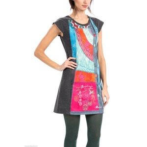 Desigual Manchu Gray Front Pane Dress